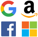 Google, Bing, Amazon and Facebook Logos